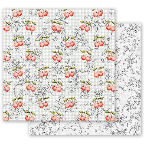Prima - Fruit Paradise Collection - 12 x 12 Double Sided Paper - Cherry Galore with Foil Accents