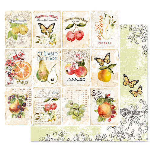 Prima - Fruit Paradise Collection - 12 x 12 Double Sided Paper - Fruit Lover with Foil Accents