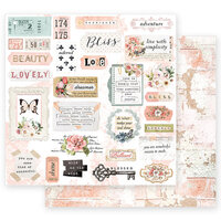 Prima - Apricot Honey Collection - 12 x 12 Double Sided Paper with Foil Accents - Deep Love