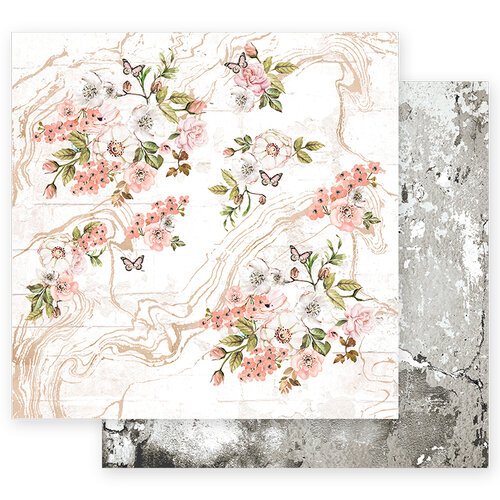 Prima - Apricot Honey Collection - 12 x 12 Double Sided Paper with Foil Accents - Tiny Blossoms