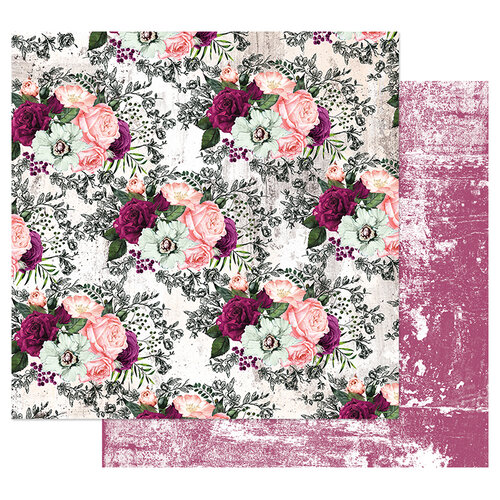 Prima - Pretty Mosaic Collection - 12 x 12 Double Sided Paper with Foil Accents - Lovely Clusters