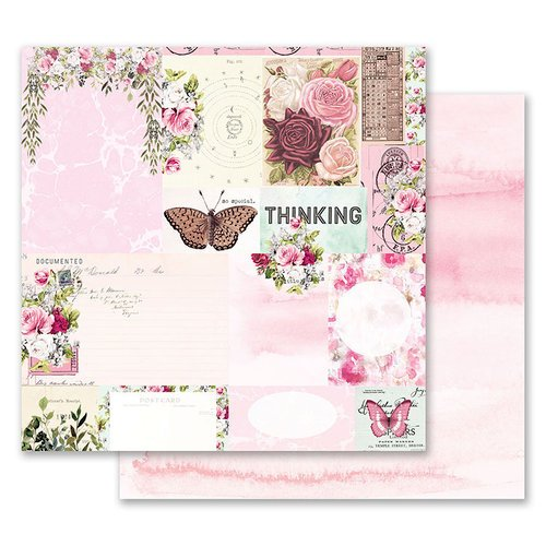 Prima - Misty Rose Collection - 12 x 12 Double Sided Paper - Their Words for Each Other with Foil Accents