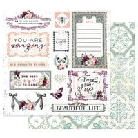 Prima - Pretty Mosaic Collection - 12 x 12 Double Sided Paper with Foil Accents - Beautiful Life