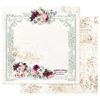 Prima - Pretty Mosaic Collection - 12 x 12 Double Sided Paper with Foil Accents - Tea and Roses