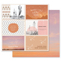 Prima - Golden Desert Collection - 12 x 12 Double Sided Paper - Wish You Were Here