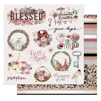Prima - Hello Pink Autumn Collection - 12 x 12 Double Sided Paper - Sweater Weather