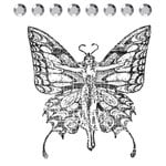 Prima - Clear Acrylic Stamps and Self Adhesive Jewels - Butterfly