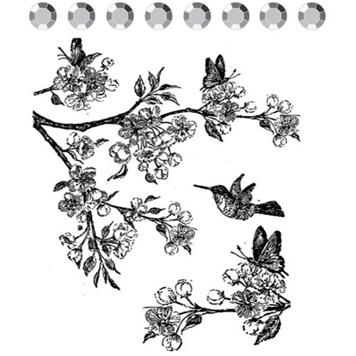 Prima - Clear Acrylic Stamps and Self Adhesive Jewels - Flutters