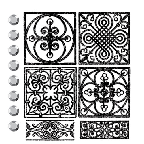 Prima - Clear Acrylic Stamps and Self Adhesive Jewels - Mausoleum