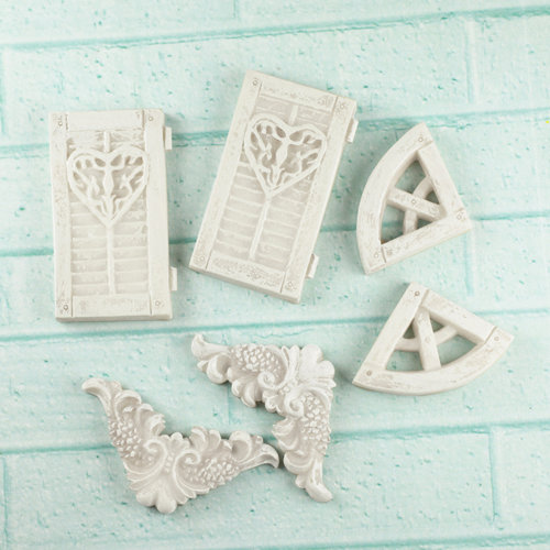 Prima - Architecture Collection - Resin Embellishments - Window Shutters