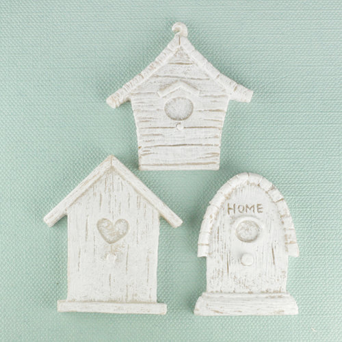 Prima - Shabby Chic Collection - Resin Treasure Embellishments - Bird Houses