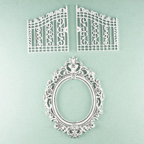 Prima - Shabby Chic Collection - Metal Treasure Embellishments - Garden Gate and Mirror