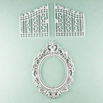 Prima - Shabby Chic Collection - Metal Treasure Embellishments - Garden Gate and Mirror