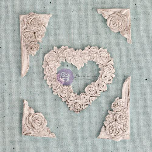Prima - Shabby Chic Treasures Collection - Ingvild Bolme - Resin Embellishments - Flower Heart