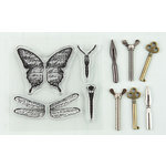 Prima - Ingvild Bolme - Stamp-N-Add - Acrylic Stamps and Metal Embellishments Set - Butterfly Wings