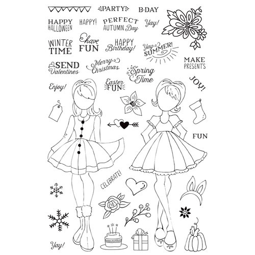 Prima - Julie Nutting - Clear Acrylic Stamps - Holiday Bliss