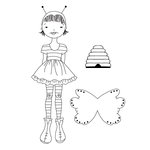 Prima - Julie Nutting - Cling Mounted Stamps - Mixed Media Doll - Bee Girl