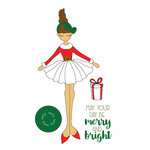 Prima - Julie Nutting - Christmas - Cling Mounted Stamps - Merry Doll