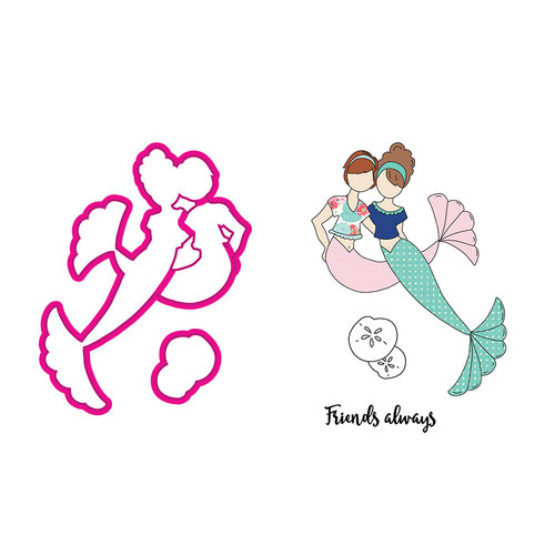 Prima - Mermaid Kisses Collection - Cling Mounted Stamps and Metal Die Set - Besties