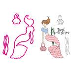 Prima - Mermaid Kisses Collection - Cling Mounted Stamps and Metal Die Set - Cordelia Mermaid