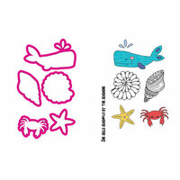 Prima - Mermaid Kisses Collection - Cling Mounted Stamps and Metal Die Set - Sea Life
