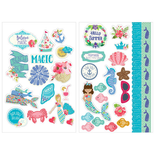 Prima - Mermaid Kisses Collection - Cardstock Stickers