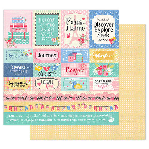 Prima - Julie Nutting - Traveling Girl Collection - 12 x 12 Double Sided Paper - Travel Girl with Foil Accents