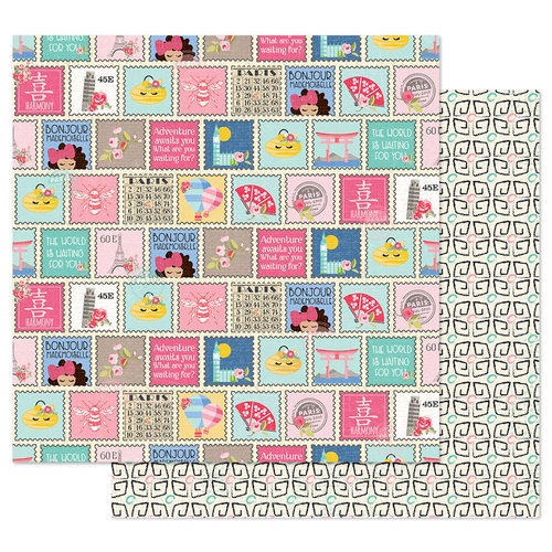 Prima - Julie Nutting - Traveling Girl Collection - 12 x 12 Double Sided Paper - Write Me Soon with Foil Accents