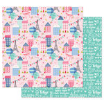 Prima - Julie Nutting - Traveling Girl Collection - 12 x 12 Double Sided Paper - Somewhere in Europe with Foil Accents