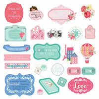 Prima - Julie Nutting - Traveling Girl Collection - Ephemera with Foil Accents