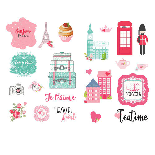 Prima - Julie Nutting - Traveling Girl Collection - Cardstock Stickers