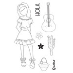 Prima - Julie Nutting - Travelling Girl Collection - Cling Mounted Stamps - Gabriela