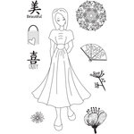 Prima - Julie Nutting - Travelling Girl Collection - Cling Mounted Stamps - Kyoko
