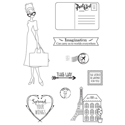 Prima - Julie Nutting - Travelling Girl Collection - Cling Mounted Stamps - Travel Girl