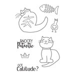 Prima - Julie Nutting - Cling Mounted Stamps - Mixed Media Doll - Snooty Cats