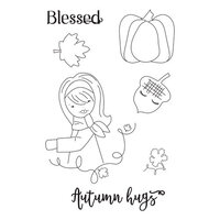 Prima - Julie Nutting - Cling Mounted Stamps - Mixed Media Doll - Autumn Hugs