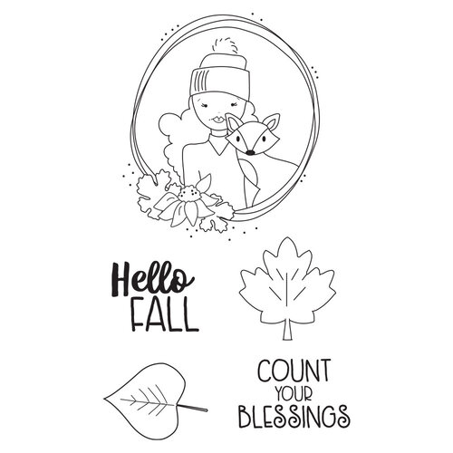 Prima - Julie Nutting - Cling Mounted Stamps - Mixed Media Doll - Hello Fall