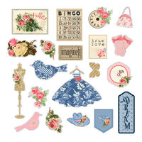 Prima - Julie Nutting - Frayed Denim Collection - Ephemera - Set One