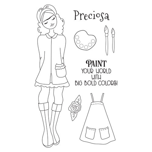 Prima - Julie Nutting - Solecito Collection - Cling Mounted Stamps - Mixed Media Doll - Frida
