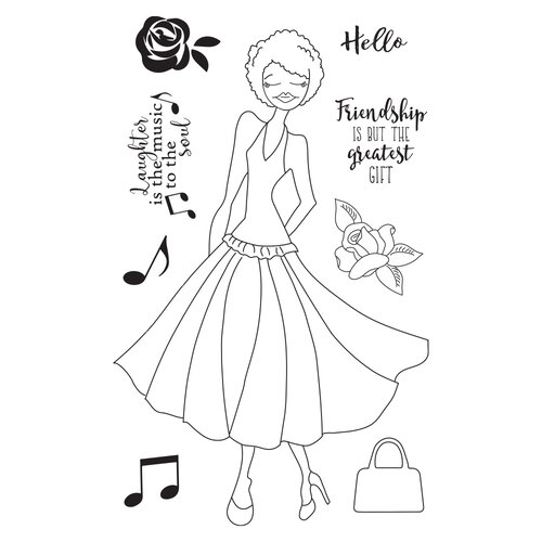Prima - Julie Nutting - Solecito Collection - Cling Mounted Stamps - Mixed Media Doll - Kamirah