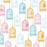 Prima - Donna Downey Collection - 12 x 12 Screenprinted Canvas - Bird Cage