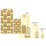 Prima - Donna Downey Collection - Embroidered Canvas and Chipboard Tag Set - 6 Pieces - Bird Cage, CLEARANCE