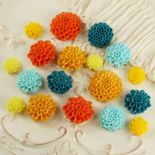 Prima - Cabachon Collection - Donna Downey - Sculpture Resin Flowers - Mix 4