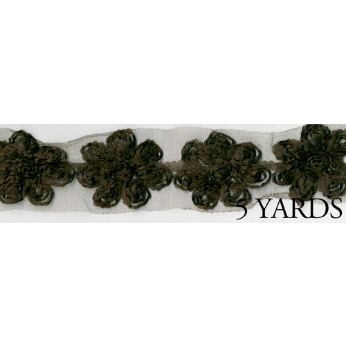 Prima - Donna Downey Collection - Rose Trim - Brown - 5 Yards