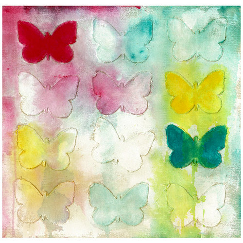 Prima - Donna Downey Collection - 12 x 12 Screenprint Canvas Paper - Butterfly