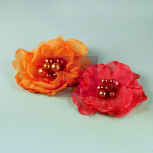 Prima - Elle Collection - Donna Downey - Flower Embellishments - Orange Pink