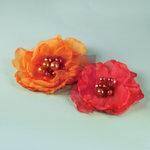 Prima - Elle Collection - Donna Downey - Flower Embellishments - Orange Pink