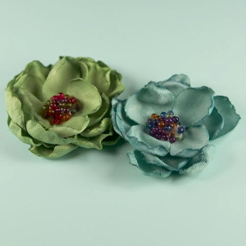 Prima - Elle Collection - Donna Downey - Flower Embellishments - Sage Blue