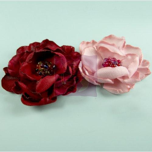 Prima - Elle Collection - Donna Downey - Flower Embellishments - Burgundy Pink