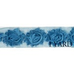 Prima - Donna Downey Collection - Rose Trim - Turquoise - 1 Yard
